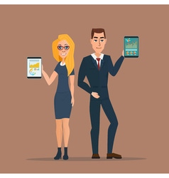 Businessman and business woman holding a tablet vector