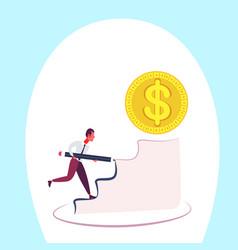Businessman pave the way climbing podium dollar vector