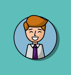 businessman portrait character happy gesture vector image