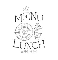 cafe lunch menu promo sign in sketch style vector image