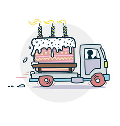 Cake Truck Delivery Sticker Vector