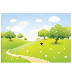 cartoon of a beautiful spring sunny meadow vector image