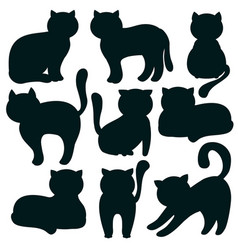 cat set of flat icons of feline silhouettes vector image