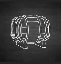 chalk sketch of wooden barrel vector image