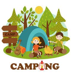 Children near bonfire in summer camp vector
