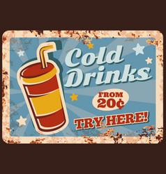 Cold drinks rusty metal plate beverage vector
