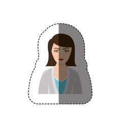 Color sticker half body woman with jacket and vector