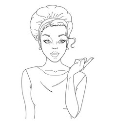 coloring black and white comic woman amazed vector image