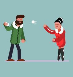 couple plaing snowballs vector image
