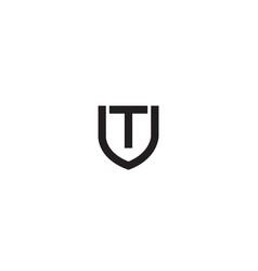 creative black shield t letter logo vector image