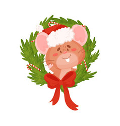 Cute brown mouse and christmas wreath vector