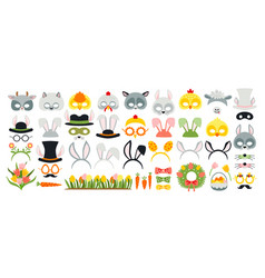cute easter photo booth props as set party vector image