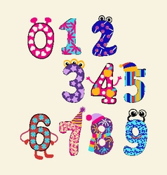 cute numbers set Colorful set cute numbers vector image