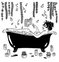 Cute witch in pin-up style takes a bath vector