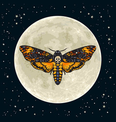 deaths head hawkmoth on full moon background vector image