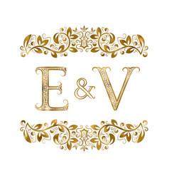 e and v vintage initials logo symbol vector image