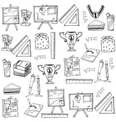 Element school doodles with hand draw vector