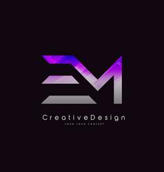 Em letter logo design purple texture creative vector