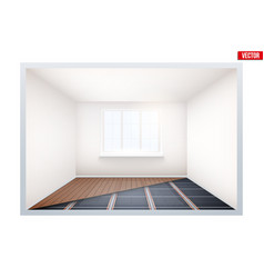 Empty room with ir heating floor and window vector