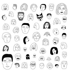 Faces man and woman family couple lovers vector