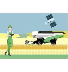 Farmer controls an autonomous harvester vector