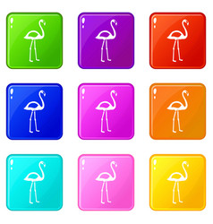 Flamingo icons 9 set vector