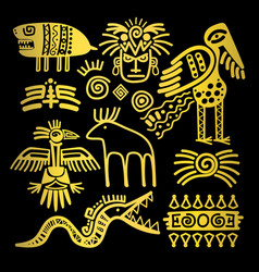 golden indian traditional signs and symbols vector image
