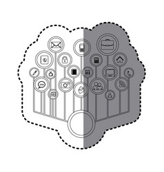 Grayscale sticker with tech icons network vector