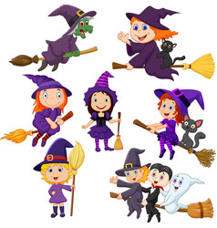 halloween young witches collection set vector image