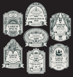 hand-drawn labels on black background vector image