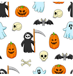 happy halloween seamless background wallpaper vector image
