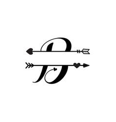 Initial b love monogram split letter isolated vector