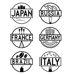 International food marks labels set vector