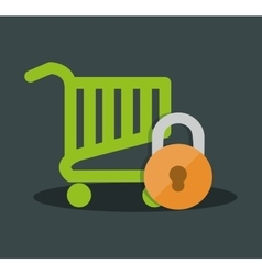 Internet security shopping cart online vector