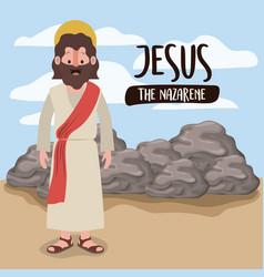 Jesus the nazarene in scene in desert next to the vector