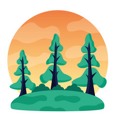 landscape trees forest meadow natural vector image
