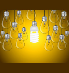Lightbulbs on yellow background idea concept vector