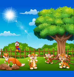 little animals are enjoying nature by the cage vector image