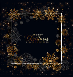 lovely black and golden snowflakes christmas vector image