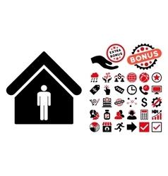 Man Toilet Building Flat Icon with Bonus vector