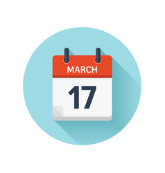 March 17 flat daily calendar icon date vector