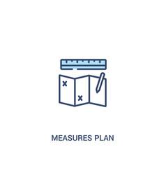 Measures plan concept 2 colored icon simple line vector