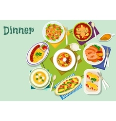 Meat fish dishes for lunch icon for food design vector