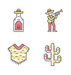 mexican culture color icons set national drink vector image