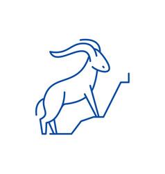 mountain goat line icon concept mountain goat vector image