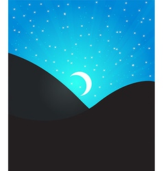 Night landcape with moon and stars vector