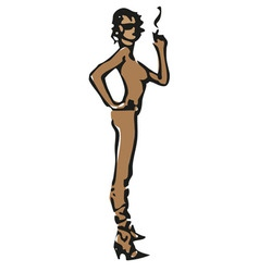 nude smoking model vector image