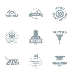 Ore logo set simple style vector
