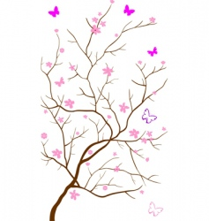 Oriental cherry with butterflies vector