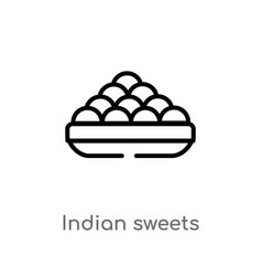 Outline indian sweets icon isolated black simple vector